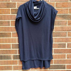 Umgee NAVY Oversized cowl neck top Tunic Small